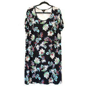 J. JILL Wearever Collection 1X Black Floral Dress